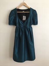 BNWOT Asos Blue/Green Dress Size 8, Vintage Style, Silk Effect Material