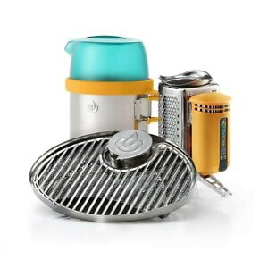 BioLite CampStove2 Outdoor Camping Cooking Stove USB Charger Kettle Grill Bundle