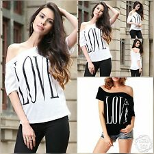 ladies sexy LOVE off shoulder sloping blouse summer top t shirt 6 8 10 12  LT26