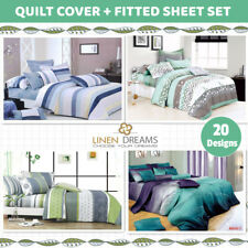 Queen/King Size Bed 4pc 100% Cotton Quilt / Duvet Cover+Fitted Sheet Set