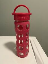 Lifefactory 16oz Glass Water Bottle W/ Silicone Sleeve and Classic Cap - Red