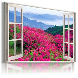PINK FLOWERS MOUNTAINS 3D Window View Canvas Wall Art Picture  W323 MATAGA