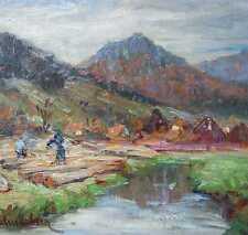 von Palmenberg Emilie 1864-1931 Baden-Baden München Landschaft Flößer Baumstämme