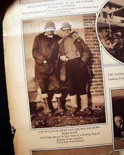 BABE RUTH & Hot Dog King - CHARLES LINDBERGH Latin Tour 1936 Rotogravure PHOTOS