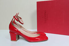 sz 10 / 40.5 Valentino Red Patent Leather Tan-Go Tango Ankle Strap Pump Shoes