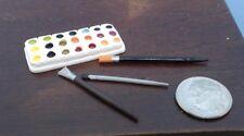 Dollhouse Miniature Water Color Paint Pallet Set  w / 3  Brushes 1:12 scale