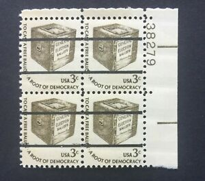 mystamps US 1584a, 3 cent Ballot Box, pre-cancel Plate block, MNH OG 1977