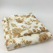 VTG Full Flat Bed Sheet & Pillowcase Brown Rose Floral Cannon Monticello Percale
