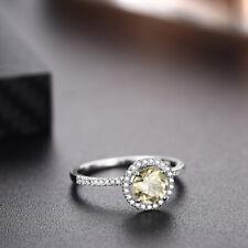 10K White Gold Wedding Anniversary 1.2ct Round Peridot & Natural Diamonds Ring