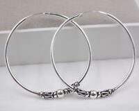 Pure S925 Sterling Silver Women Big Circle Hoop Fashion Dangle Earrings 42x4mm