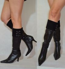 Women Black Knee High Boots Turn Over Point Toes Real Leather Clarks Size 4,5