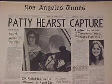 Vintage Newspaper Headline ~Crime Fugitive Heiress Patty Hearst Kidnaped Capture