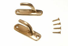 NEW CURTAIN TIE HOLD BACK HOOKS MODERN SOLID BRASS 45MM WITH SCREWS (8 PAIRS)