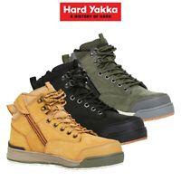 Mens Hard Yakka Lace Zip Safety Boots 3056 Work Steel Cap Memory Foam Y60201