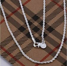 925 Silver Sterling 4mm Top Quality Twisted Rope Chain Necklace Bracelet UK