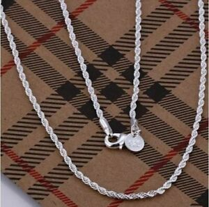 """925 Silver Sterling 4mm 22"""" Twisted Rope Chain Necklace UK + Free Gift Bag !!!"""
