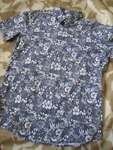 Mens Next Navy & White, Floral Short Sleeved Shirt, Large