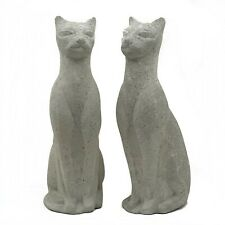 Pair of Vintage Siamese Cat Statue Cement Concrete Persian Kitten Garden Figure