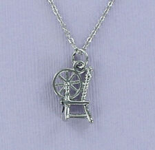 Spinning Wheel Necklace - Pewter Charm on Chain 3D Spin Yarn Thread Spindle New