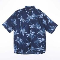 Vintage PURITAN Navy Blue Short Sleeve Hawaiian Shirt Men's Size Large