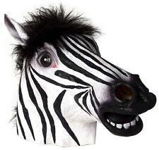 Zebra Deluxe Latex Mask with Mane Farm Animal