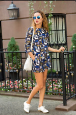 H&M blue kitty cat print pattern texture top blouse shirt zip quirky indie 36 10