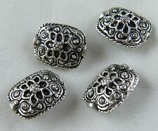 20pcs Tibetan Silver Flower Pattern Rectangle Spacers 13.5x10.5x6mm 5179