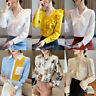 Fall Winter Women Chiffon Long Sleeve Career Office Button Down Shirt Blouse Top
