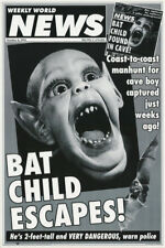 LOT OF 2 POSTERS :COMICAL :FAKE HEADLINE : BAT CHILD ESCAPES    #3308    LP52 O