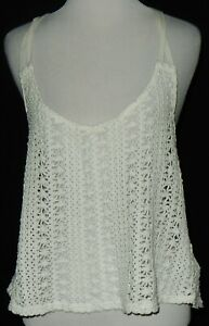 Roxy Women's Ivory Knit Tank Top Size Large Crochet Sleeveless # see link