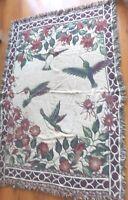 "Vtg Woven Cotton Hummingbirds Tapestry Throw Blanket 48"" x 74"""