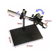 Dual-Arm Metal Boom Stereo Microscope Table Stand Holder Support 50mm Ring 4KG