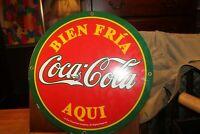 "Spanish Porcelain Coca Cola Coke 14"" Round Sign Bien Fria Aqui Rare"