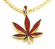 """Mens 14k Gold Plated Red Stone Marijuana Large Pendant 30"""" Cuban Chain Necklace"""