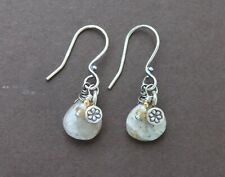 Thai Silver Handcrafted Dangle Earrings Golden Rutilated Quartz Pearl Hill Tribe