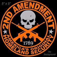2nd Amendment Decal 5 Inch Orange & Grey Vinyl Sticker Buy 2 or More 10% Off