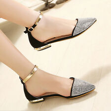 Rhinestone Womens Trendy Pointed Toe Ankle Strap Flat Pumps Court Shopping Shoes