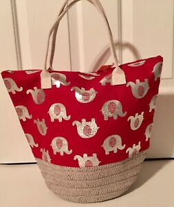 DELTA SIGMA THETA INSPIRED RED TOTE BAG WITH SILVER ELEPHANTS