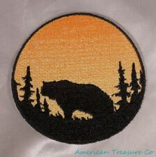 Embroidered Sunset Grizzly Bear Silhouette Ombre Circle Patch Iron On Sew On USA
