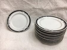 "1 NITTO China 'Kabuki' T 75 6"" Bread Plate w/ Silver Trim (12 total): Brand NEW!"