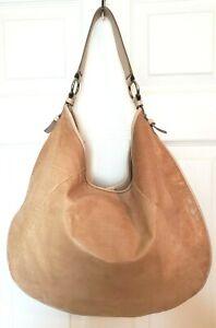 Banana Republic Lucia Womens XL Beige Embossed Lizard Leather Hobo Shoulder Bag