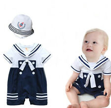 Baby Boy Sailor White Navy Romper with Hat Suit Grow Summer Outfit 3-24 M