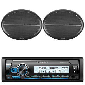 Pioneer Bluetooth USB Marine Radio, 2-Enrock 6x9 180W Black Marine Speaker Set