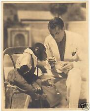 GARY COOPER with a monkey,Sniped by Otto Dyar,Embossed