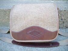 Vtg Brown Jute Material w/Leather Trim DIAMOND BLUFF Shoulder Soft Laptop Bag