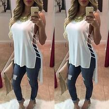 Womens Lady Summer Vest Top Sleeveless Blouse Casual Tank Tops T-Shirt M&