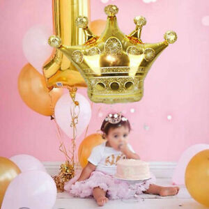 Gold Crown Foil Balloon Girls Kids Princess Birthday Party Baby Shower Decor NEW