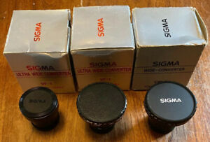 3 x Vintage Sigma Ultra Wide Converter Lenses VF-1 & VW-L for Video Camera Boxed