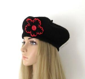 Béret en laine noir bouton fleur chapeau bonnet hiver couvre-chef toque femme