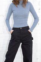 brandy melville blue/gray/black stripe ribbed Daniela turtleneck top NWT XS/S